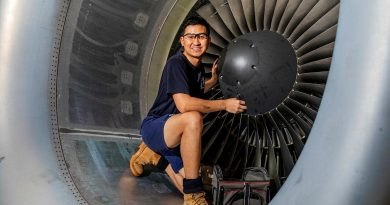 Leading Aircraftman Trung Phan, an aircraft structural fitter from No 36 Squadron, performs maintenance on a C-17 Globemaster III engine at RAAF Base Amberley. Photo by Leading Aircraftwoman Emma Schwenke.