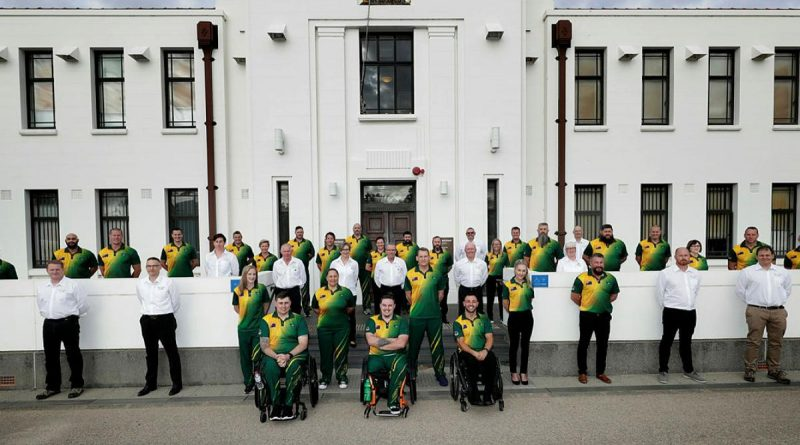 Competitors and staff of the Australian 2020 Invictus Games team at Torrens parade grounds, Adelaide. Photo: Leading Seaman Jayson Tufrey