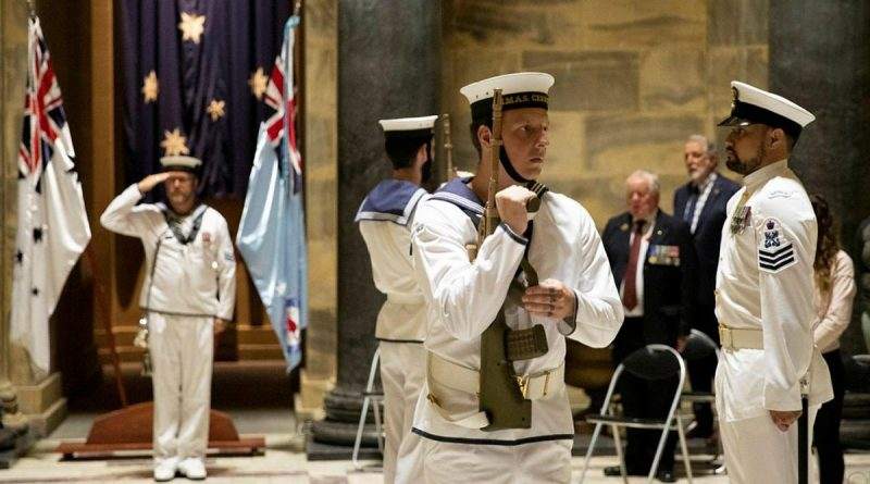 The catafalque party from HMAS Cerberus salutes during a service to commemorate the 79th anniversary of the Battle of Sunda Strait at the Shrine of Remembrance in Melbourne. Photo by Leading Seaman Bonny Gassner.