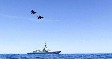 A pair of Air Force F35-A Lightning aircraft conduct a flypast over HMAS Hobart during Exercise Tasman Shield. Photo by Petty Office BT Matchett.