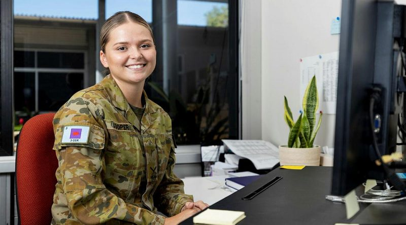 Lance Corporal Chloe-Meg Cooper, of 3rd Combat Engineer Regiment, at Lavarack Barracks, Townsville. Photo by Corporal Brodie Cross.