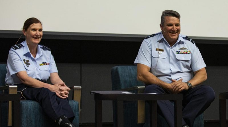 Head of Air Force Capability Air Vice-Marshal Cath Roberts hosts a question and answer session alongside Deputy Chief of Air Force Air Vice-Marshal Stephen Meredith during an International Women's Day event. Photo by Leading Aircraftman Adam Abela.