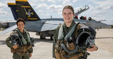 Air Force Super Hornet weapons system officer Flight Lieutenant Zalie, left, and pilot Flying Officer Sophie in front of a No. 1 Squadron F/A-18F Super Hornet at RAAF Base Amberley. Photo by Corporal Nicci Freeman.