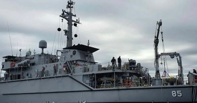 RAN mine hunter HMAS Gascoyne sails in the waters off the coast of Northern Tasmania as part of Fleet Certification Period.