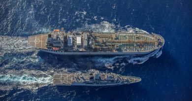 HMAS Anzac conducts a replenishment at sea with HMAS Sirius in the South China Sea. Photo by LSIS Thomas Sawtell.