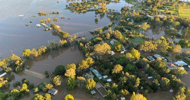 Floodwaters around RAAF Base Richmond, NSW. Photo byRADM Robert Plath.