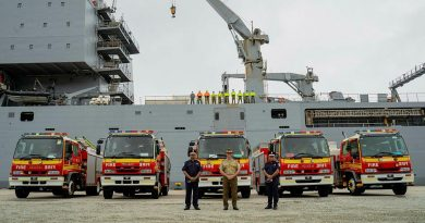 The ADF has delivered five fire trucks, donated by the Queensland Fire and Emergency Service, to Port Moresby, Papua New Guinea. Photo by Roberto Garcia.