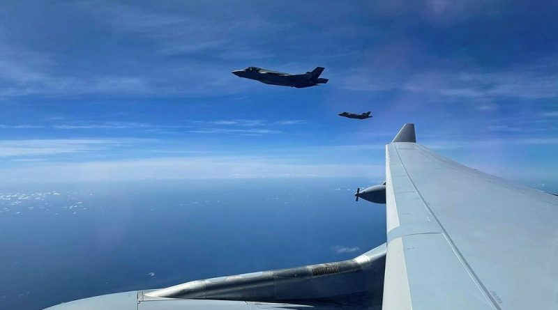 United States Air Force F-35A Lightning IIs from Eielson Air Force Base in Alaska fly alongside a RAAF KC-30A multi-role tanker transport from No. 33 Squadron during Exercise Cope North 2021 in Guam.