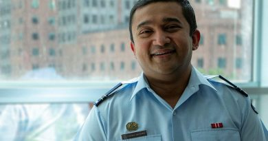 Aviation safety assurance officer Flight Lieutenant Soumya 'Sam' Chowdhury at the Defence Aviation Safety Authority office in Melbourne, Victoria.