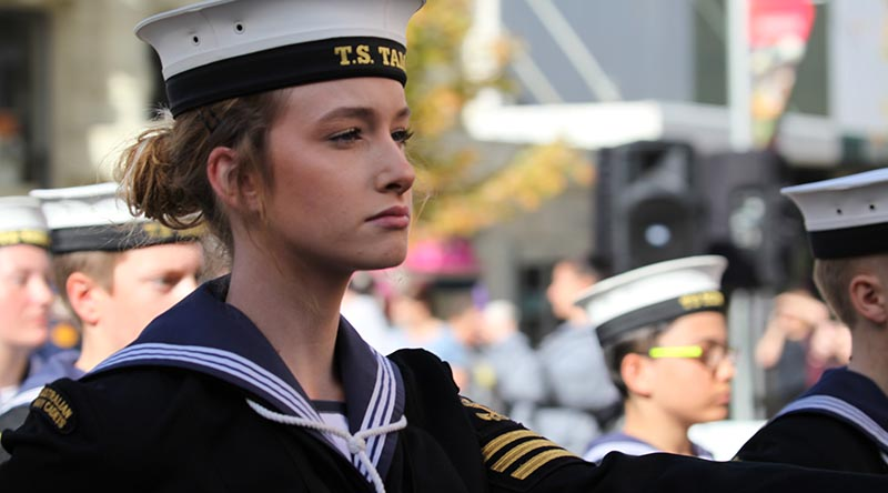 Australian Navy Cadets march through the streets of Launceston. Photos by Helen Patronis.