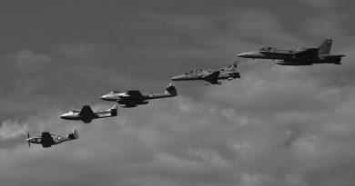 A RAAF heritage formation at the RAAF Base Amberley Airshow 2008 – Mustang, Vampire, Meteor, Hawk, Hornet. Photo by Brian Hartigan.