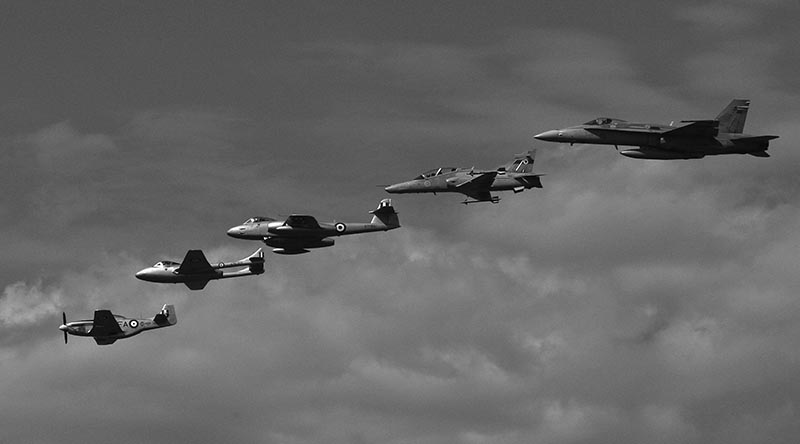 A RAAF heritage formation at the RAAF Base Amberley Airshow 2008 – Mustang, Vampire, Meteor, Hawk, Hornet. Photo by Brian Hartigan.