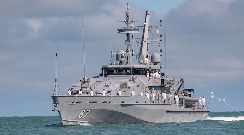 Royal Australian Navy patrol boat HMAS Pirie sails into Darwin Harbour, Northern Territory, for the last time before she decommissions. Photo by Leading Seaman Shane Cameron.