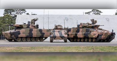 Rheinmetall's KF41 Lynx, left, and Hanwha's Redback, dwarf the M113 APC one of them will replace. Defence image.