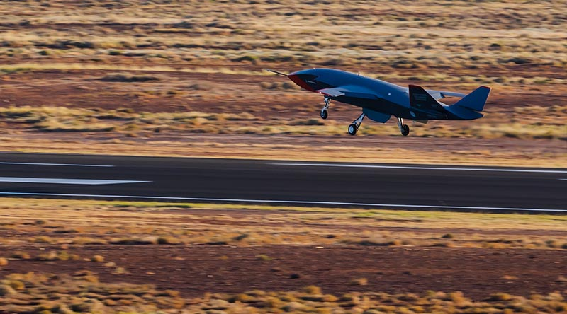 The Boeing Australia Airpower Teaming System Loyal Wingman lands at the end of its first flight at Woomera, South Australia. Photographer unnamed.