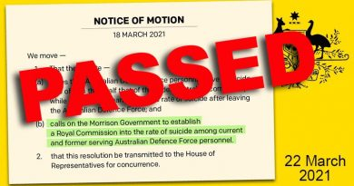 A motion calling on the overnment to establish a Royal Commission into veteran suicide passed the Lower House, 22 March 2021.
