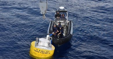 ARHIB crew from HMNZS Aotearoa secures the tsunami-detection buoy in preparation for the ship's crane to lift it aboard. NZDF photo.