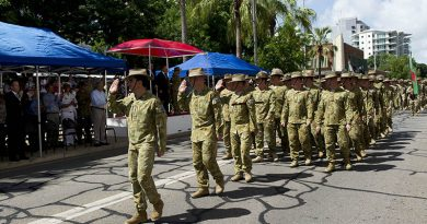 Commanding Officer of Combined Team Uruzgan Rotation Four, Colonel Simon Stuart, leads his unit during the welcome home parade in Darwin. Photo by Corporal Bill Solomon.