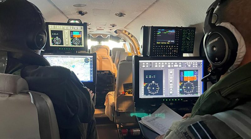 Air Mission Training School instructors Flight Lieutenants Sam de Boer, left, and Andrew Tyson conduct functional testing on the new Mission Airborne Training System. Story by Flight Lieutenant Julia Ravell. Photo by Squadron Leader Charles Tomlinson.