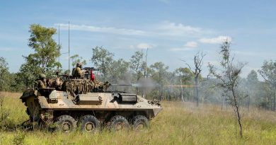 Soldiers from the 2nd Cavalry Regiment engage an enemy position with the Australian Light Armoured Vehicle's 25mm M242 Bushmaster Chain Gun during a troop live-fire attack. Photo by Corporal Brodie Cross.