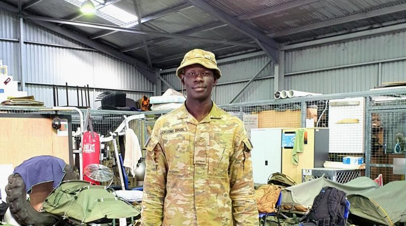 Private John Mckuong Dhuol from the 7th Combat Signal Regiment is supporting Operation NSW Flood Assist at Port Macquarie on the NSW Mid North Coast.