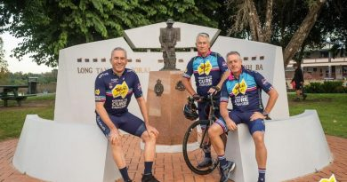 Captain Mark Beretta, left, Major Cameron Stephenson and Lieutenant Colonel Reg Crawford (retd) took part in this year's Tour de Cure cancer charity ride.