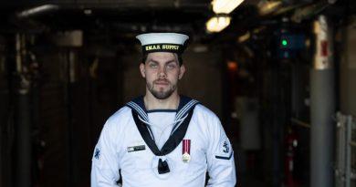 Leading Seaman Dion Cray on board HMAS Supply. Story by Lieutenant Jessica Craig. Photo by Leading Seaman David Cox.