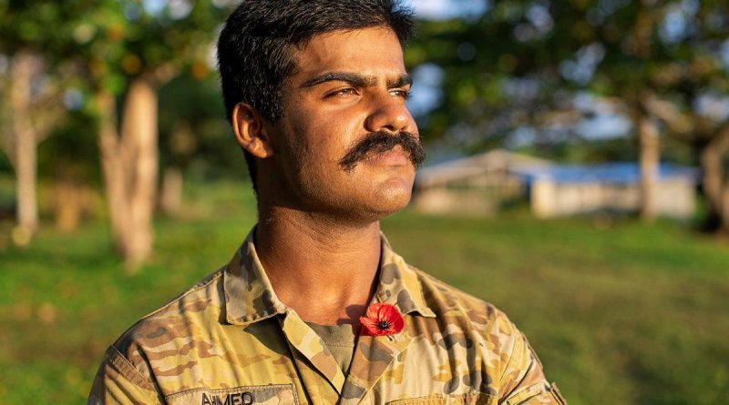 Private Osama Ahmed will spend Anzac Day 2021 in Vanuatu. Story by Corporal Olivia Cameron. Photo by Corporal Olivia Cameron.