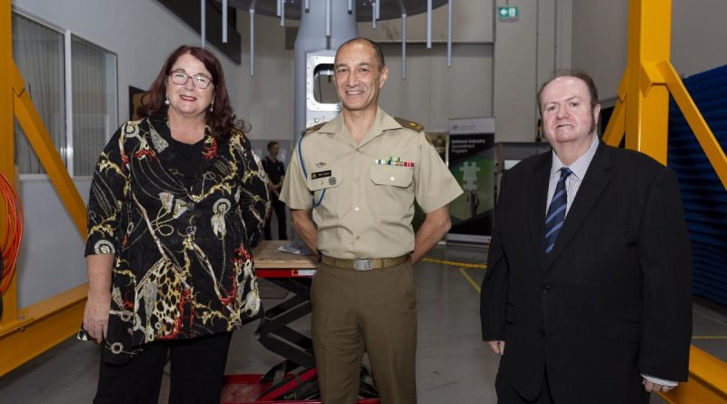 Minister for Defence Industry Melissa Price, Defence Industry Secondee Australian Army Major Mark Vermeer and Founder of Jenkins Engineering Defence Systems Peter Jenkins during the launch of the Defence Industry Secondment Program.