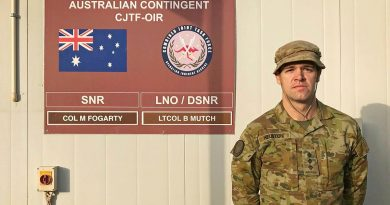 Captain Alex Heuston, from Singleton, NSW, is currently deployed as a military adviser and will be at Camp Arifjan, Kuwait, on Anzac Day. Story by Lieutenant Commander Andrew Ragless.