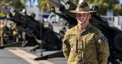 Gunner Cooper McCallum at Gallipoli Barracks Brisbane. Story by Captain Jesse Robilliard. Photo by Corporal Nicole Dorrett.