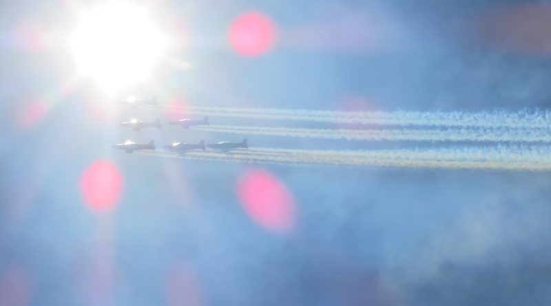 The RAAF Roulettes fly under the sun. Photo: Mike Hughes.