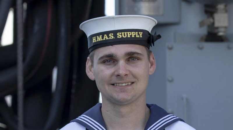 Able Seaman Cody McNulty on board HMAS Supply during her commissioning ceremony at Fleet Base East in Sydney. Story by Lieutenant Jessica Craig. Photo by Sergeant Catherine Kelly.