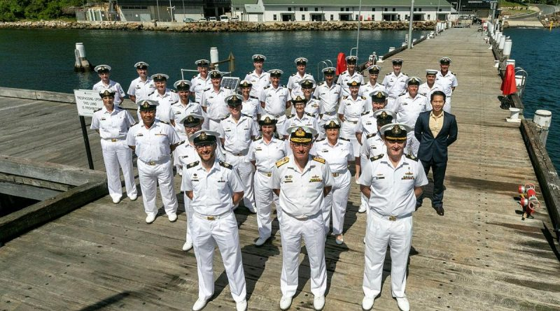 Deputy Chief of Navy Rear Admiral Christopher Smith with Navy chaplains and support staff at HMAS Penguin in Sydney. Story by Chaplain Richard Quadrio. Photo by Leading Seaman Leo Baumgartner.