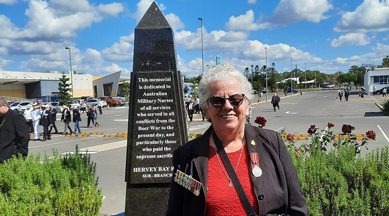 Former military nurse Colleen Crabb at the Nurses Memorial Plinth in Hervey Bay on ANZAC Day 2021.