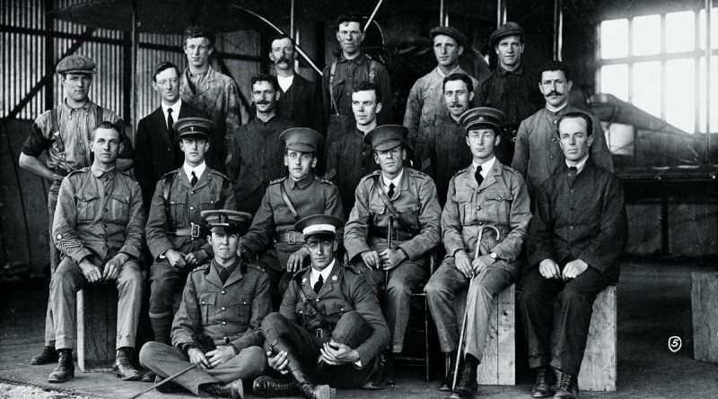 At the Central Flying School. Lieutenant George Merz is seated (second row from front) second from left, Captain Henry Petre is seated third from left and Lieutenant Eric Harrison is seated fourth from left. Story by Wing Commander Mary Anne Whiting. Photo by Australian War Memorial.