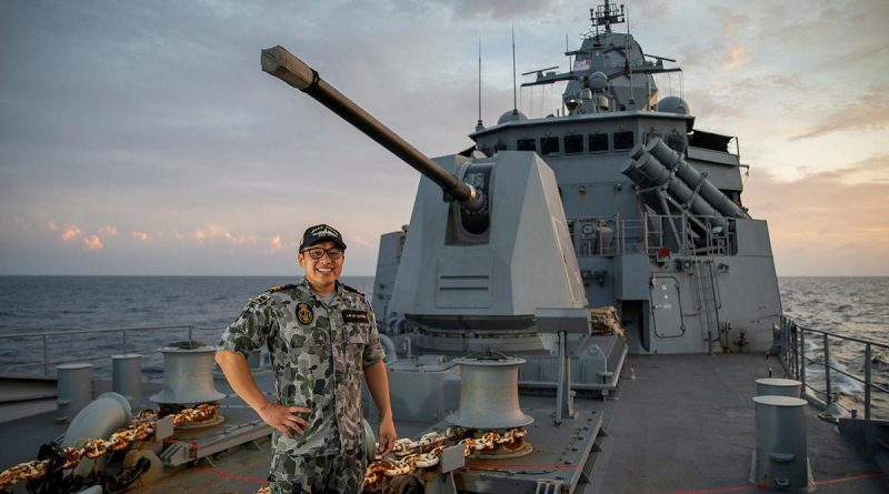 Lieutenant Lazarus Lai De Oliveira, on the forecastle of HMAS Anzac. Story by Lieutenant Geoff Long. Photo by Leading Seaman Thomas Sawtell.