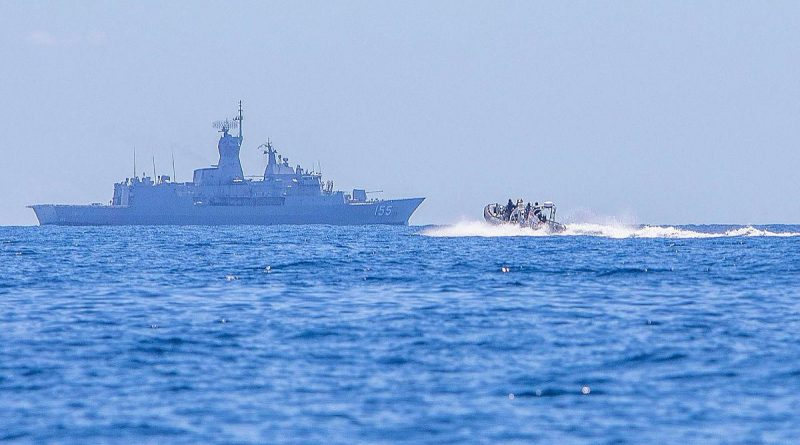 HMAS Ballarat uses a rigid-hulled inflatable boat to search for the missing Indonesian submarine KRI Nanggala. Photo by Leading Seaman Ernesto Sanchez.