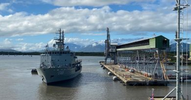 HMAS Melville departing her home port of Cairns to conduct hydrographic survey work in the Bass Strait.