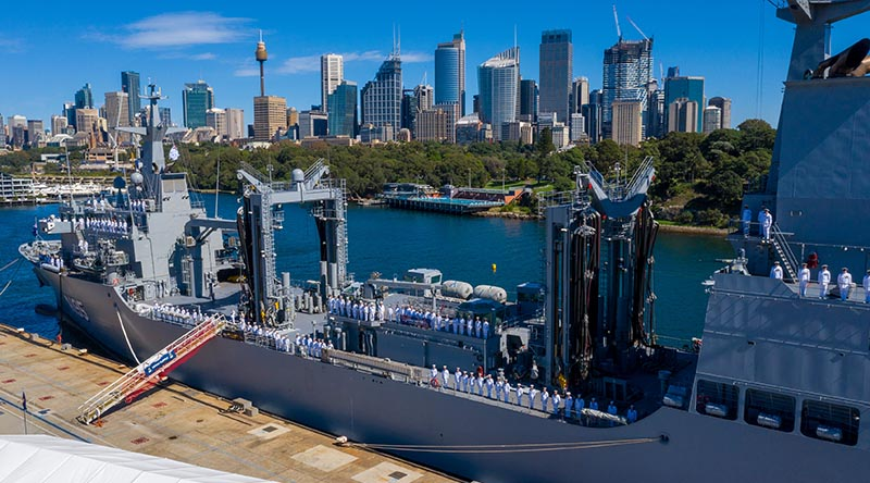 HMAS Supply's commissioning ceremony at Fleet Base East in Sydney, New South Wales. Photo by Leading Seaman Christopher Szumlanski.