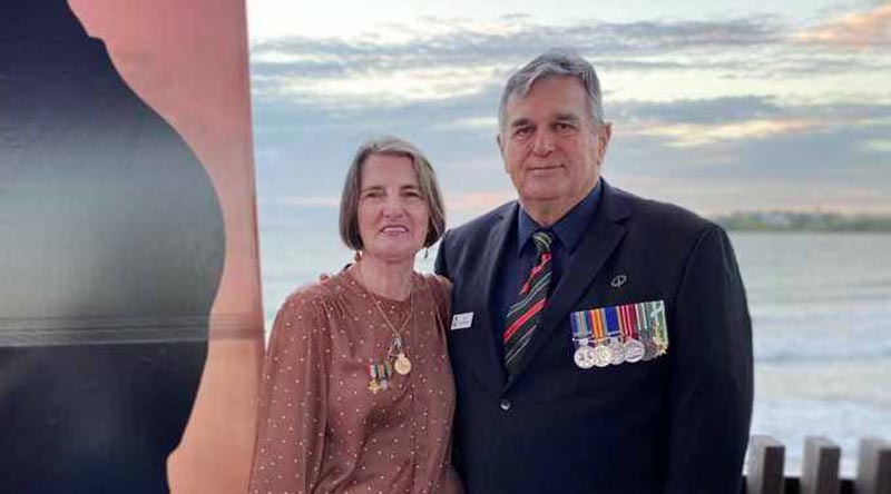 Paula and Ian Cavanough after the ANZAC Day Dawn Service in Yeppoon, Queensland, 25 April 2021.