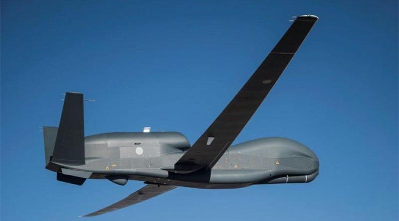 Japan's RQ-4B Global Hawk makes its maiden flight. Photo supplied by Northrop Grumman.