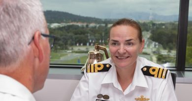Women's Strategic Advisor Commander Kelly Haywood meets with Deputy Chief of Navy Rear Admiral Christopher Smith. Story by Private Jacob Joseph. Photo by Private Jacob Joseph.