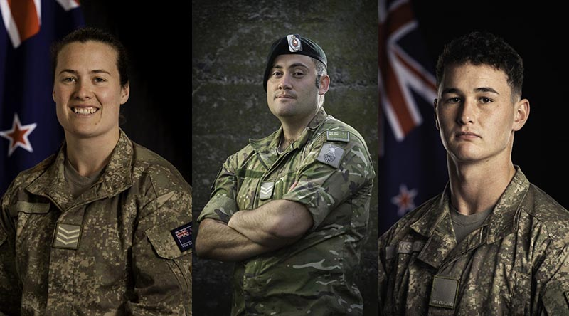 Corporal Jessica Healey-Render, Corporal Charles Munns, Private Maddison Van Sitter – all recognised for their actions following a deadly rocket attack at Taji Military Camp in March 2020. NZDF photo.