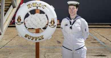 Able Seaman Lily Philips during the commissioning ceremony for HMAS Supply at Fleet Base East in Sydney. Story by Lieutenant Jessica Craig. Photo by Able Seaman Jarryd Capper.