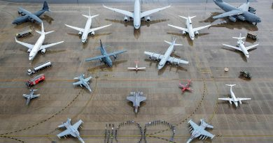 Air Force personnel representing all specialisations and musterings form the number 100 with all in-service RAAF aircraft and ground assets at RAAF Base Amberley, Queensland. Photo by Corporal Nicci Freeman.