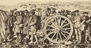 An evacuation raft built by the Royal Australian Navy Bridging Train is shown evacuating artillerymen with a field gun in January 1915. The rafts were towed by lighters during the evacuation from Gallipoli.