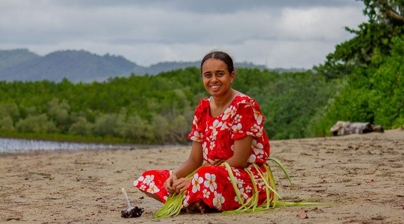 Navy Indigenous Development Program Recruit Isabella Thaiday in traditional dress during the program in Cairns, Queensland. Story by Sub Lieutenant Nancy Cotton. Photo by Matt Bentley.