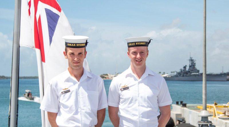 Seaman Sebastien Schultz and Seaman Jack Woolmer on their first international port visit on board HMAS Sydney in Pearl Harbor. Photo by Able Seaman Jasmine Mood.