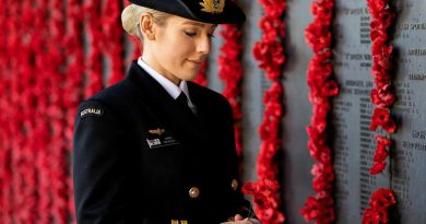 Lieutenant Sarah Rohweder reflects in front of the Roll of Honour at the Australian War Memorial in Canberra. Story by Sergeant Sebastian Beurich. Photo by Leading Seaman Kayla Jackson.